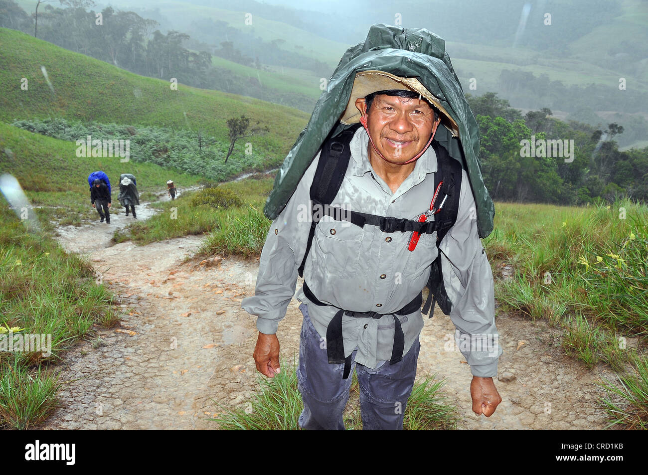 Mountaineer during a strenuous hike in the rain, Mount Roraima, table mountain, border triangle of Brazil, Venezuela - Stock Image