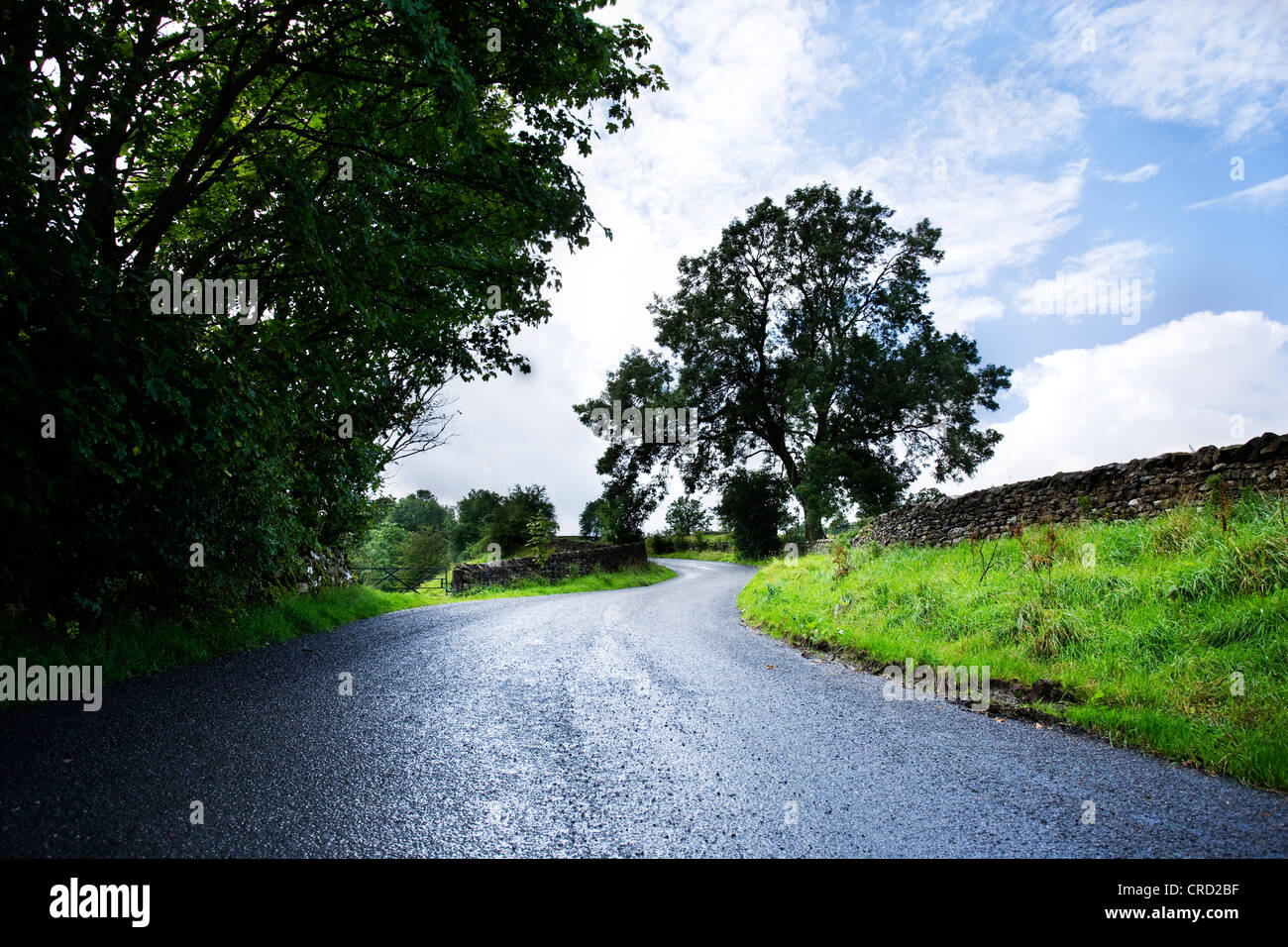 country roads in the Lake district uk  cgi car backgrounds summer fluffy clouds hills - Stock Image
