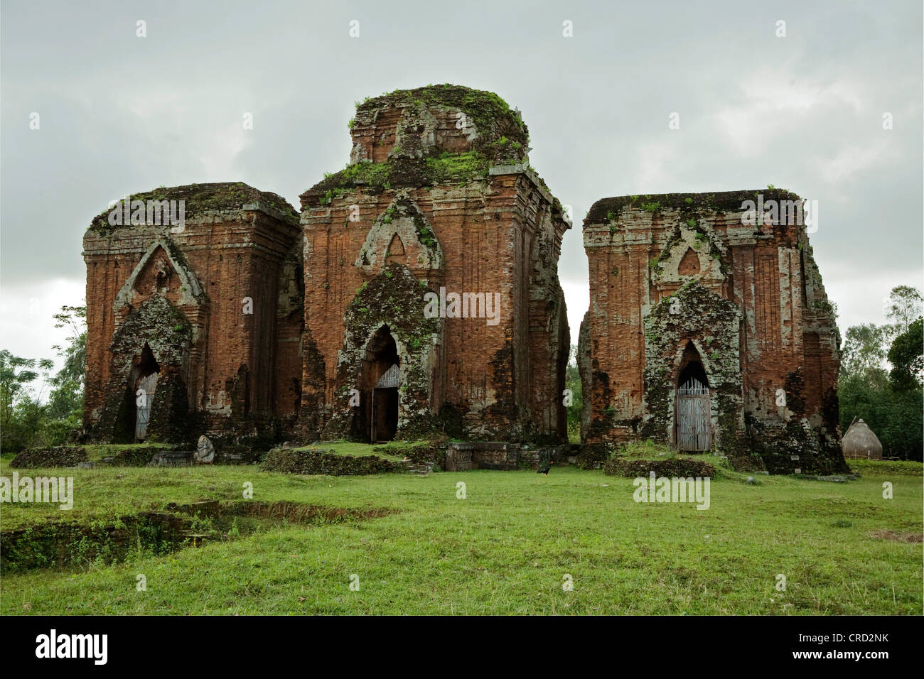 Three ancient CHAM TEMPLES inside the CHIEN DANG RUINS, Vietnam, Tam Ky - Stock Image