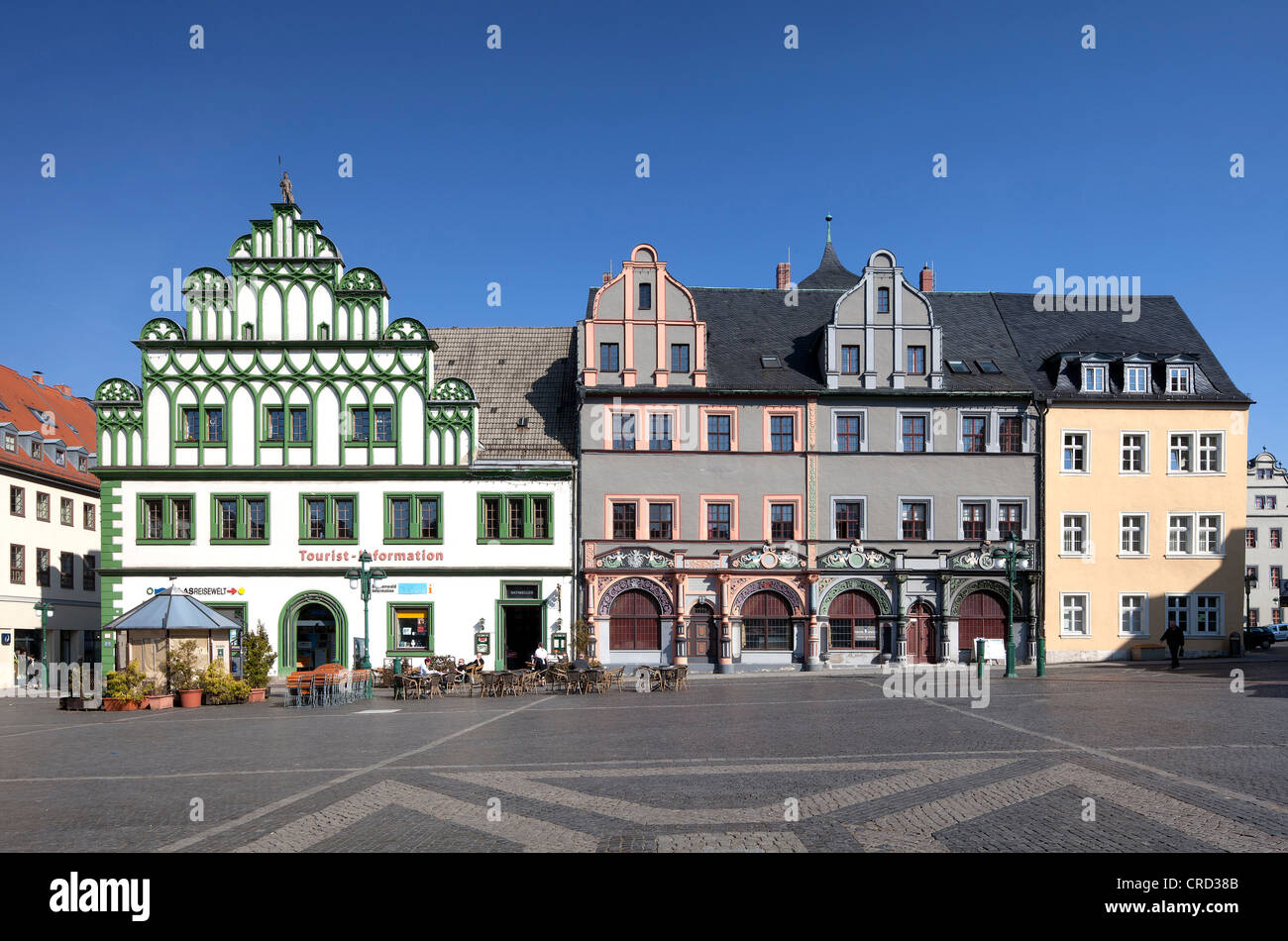 Townhouse and Cranach House on market square, Weimar, Thuringia, Germany, Europe, PublicGround - Stock Image