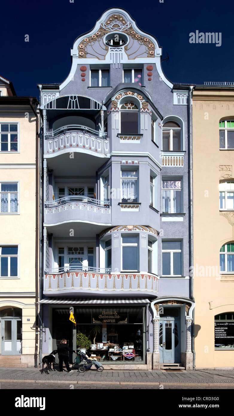 Residential and commercial building, art nouveau, Weimar, Thuringia, Germany, Europe, PublicGround - Stock Image