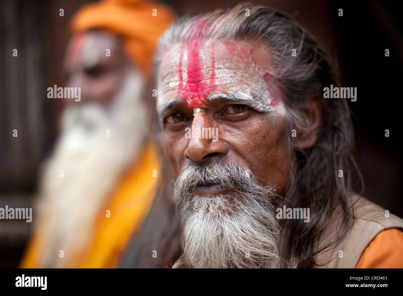 Holy men in Kathmandu's Pashupatinath Temple - Stock Image