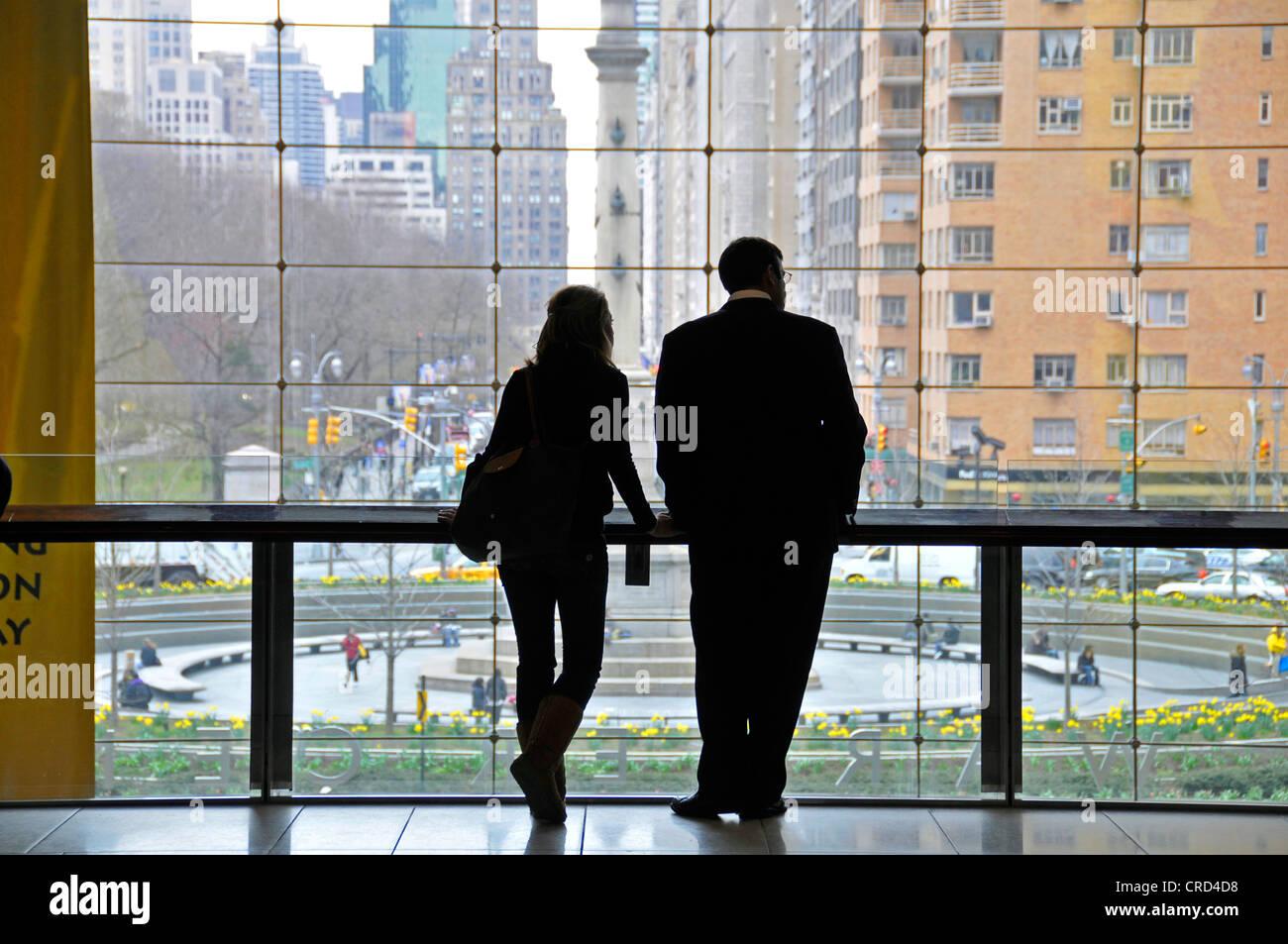 view from Time Warner Center to Columbus Circle, USA, New York City, Manhattan Stock Photo