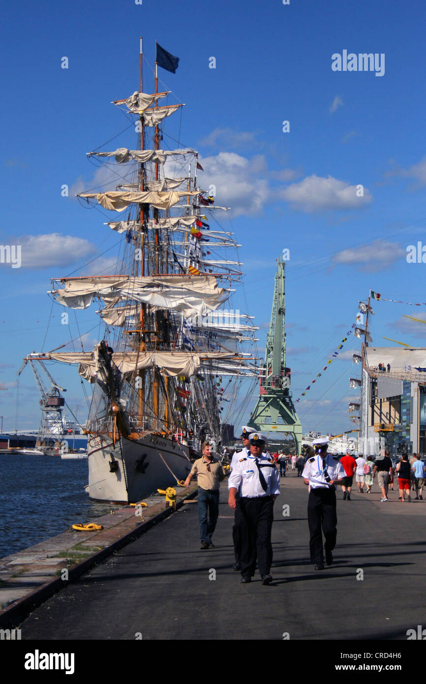 The Tall Ships' Races at Kotka. Crew in the harbor, Finland, Kotka - Stock Image