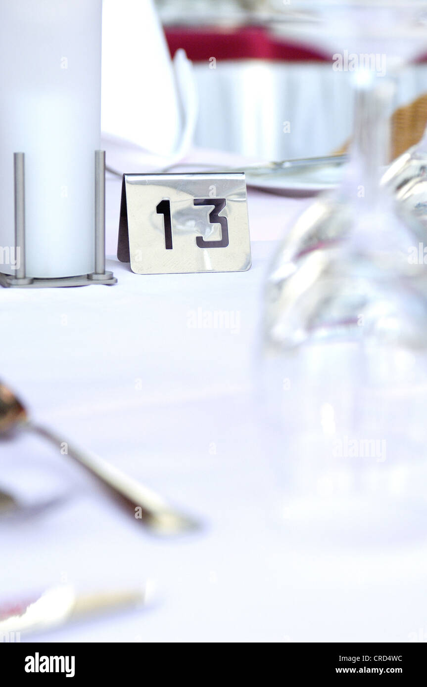 covered desk in a hotel with Nummer 13 - Stock Image