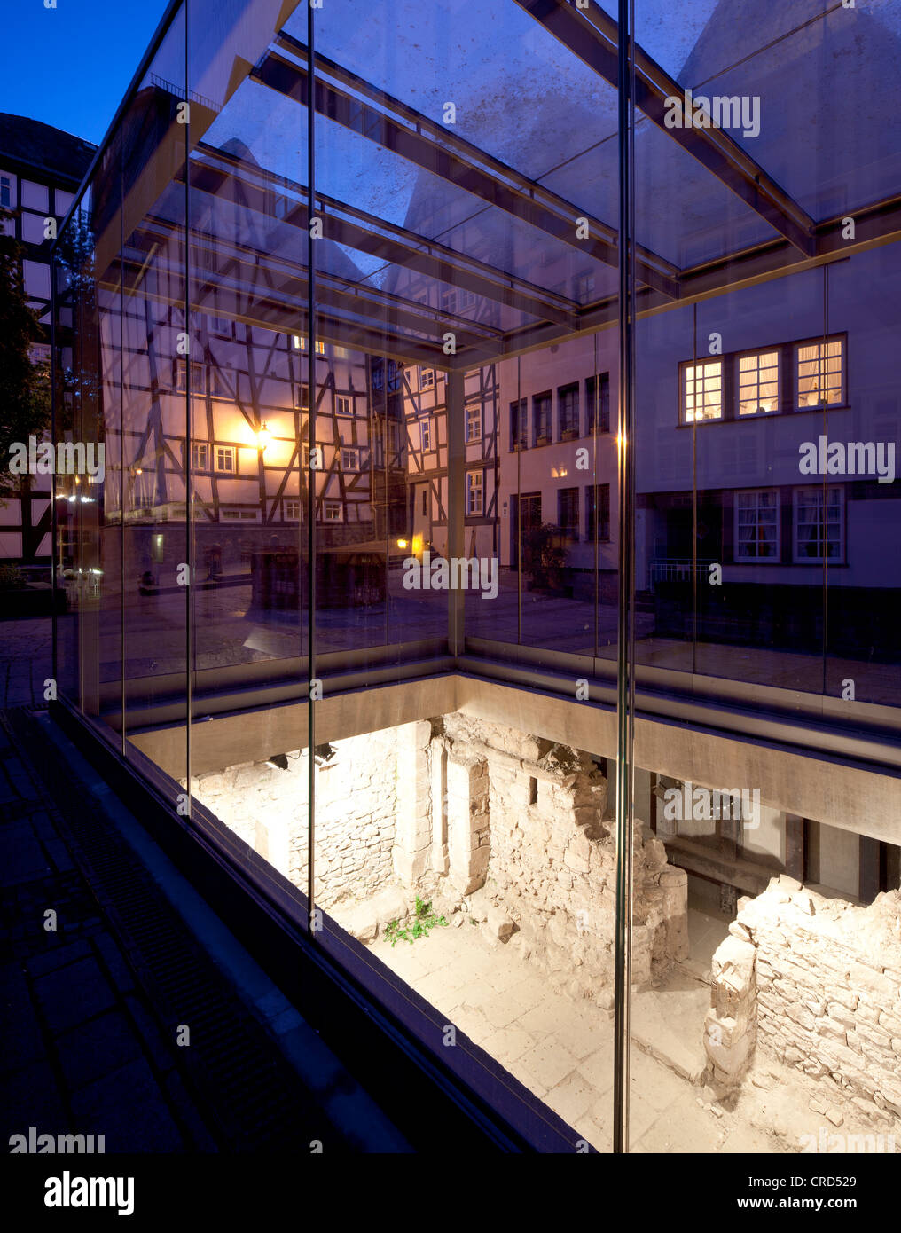 Old Synagogue, glass cube with archaeological excavations, Upper Town, Marburg, Hesse, Germany, Europe, PublicGround - Stock Image