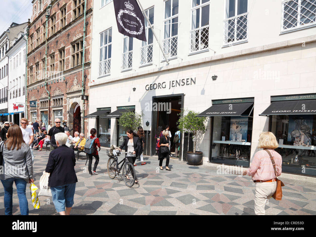 The Georg Jensen silversmith lifestyle shop on the pedestrian and shopping street  Strøget at Amagerltorv in - Stock Image