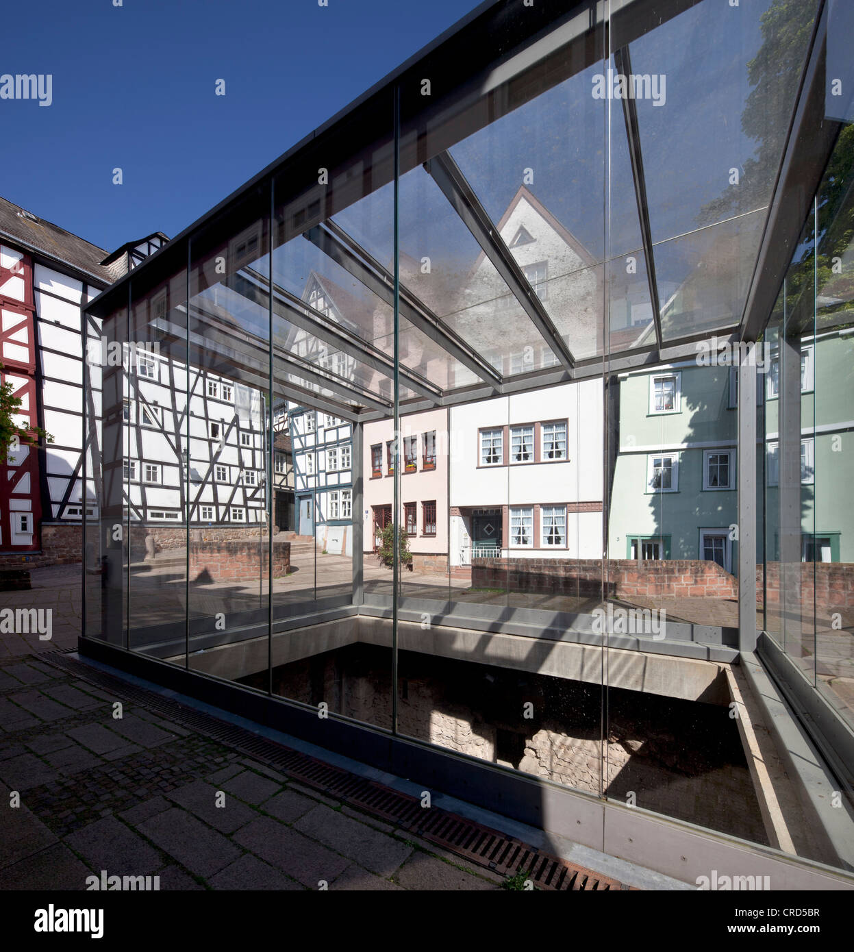 Old Synagogue, a glass cube with archaeological excavations, Upper Town, Marburg, Hesse, Germany, Europe, PublicGround - Stock Image