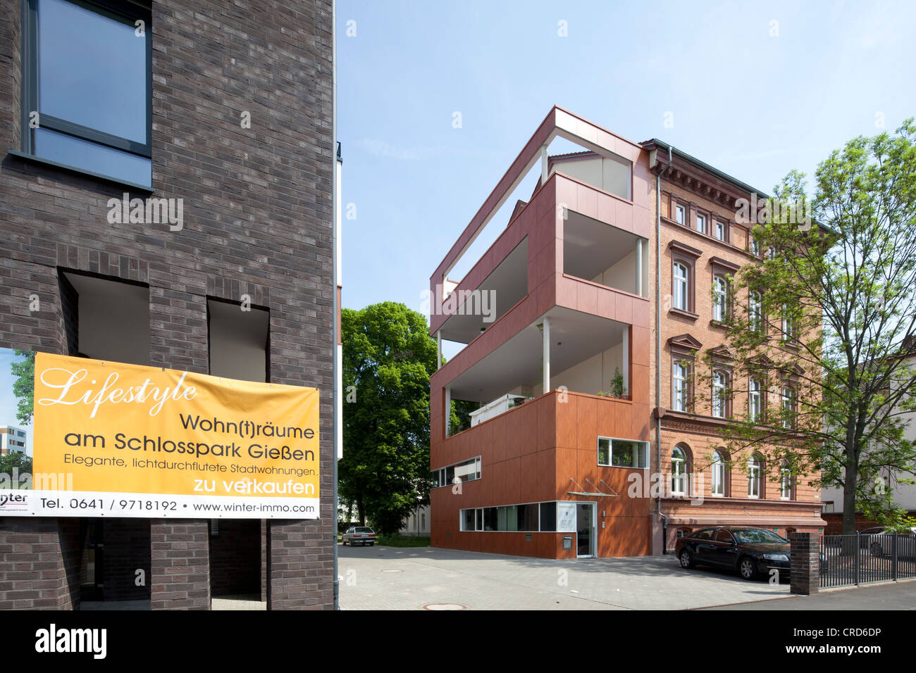 Residential building, office building, contemporary architecture, Giessen, Hesse, Germany, Europe, PublicGround - Stock Image