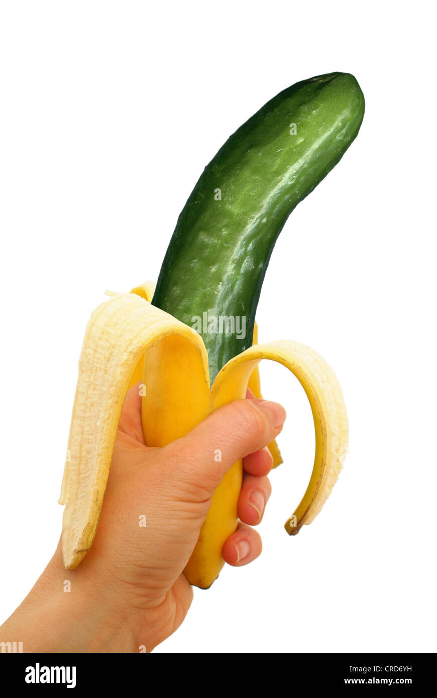symbolic for genetically modified food, cucumber in banana peel Stock Photo
