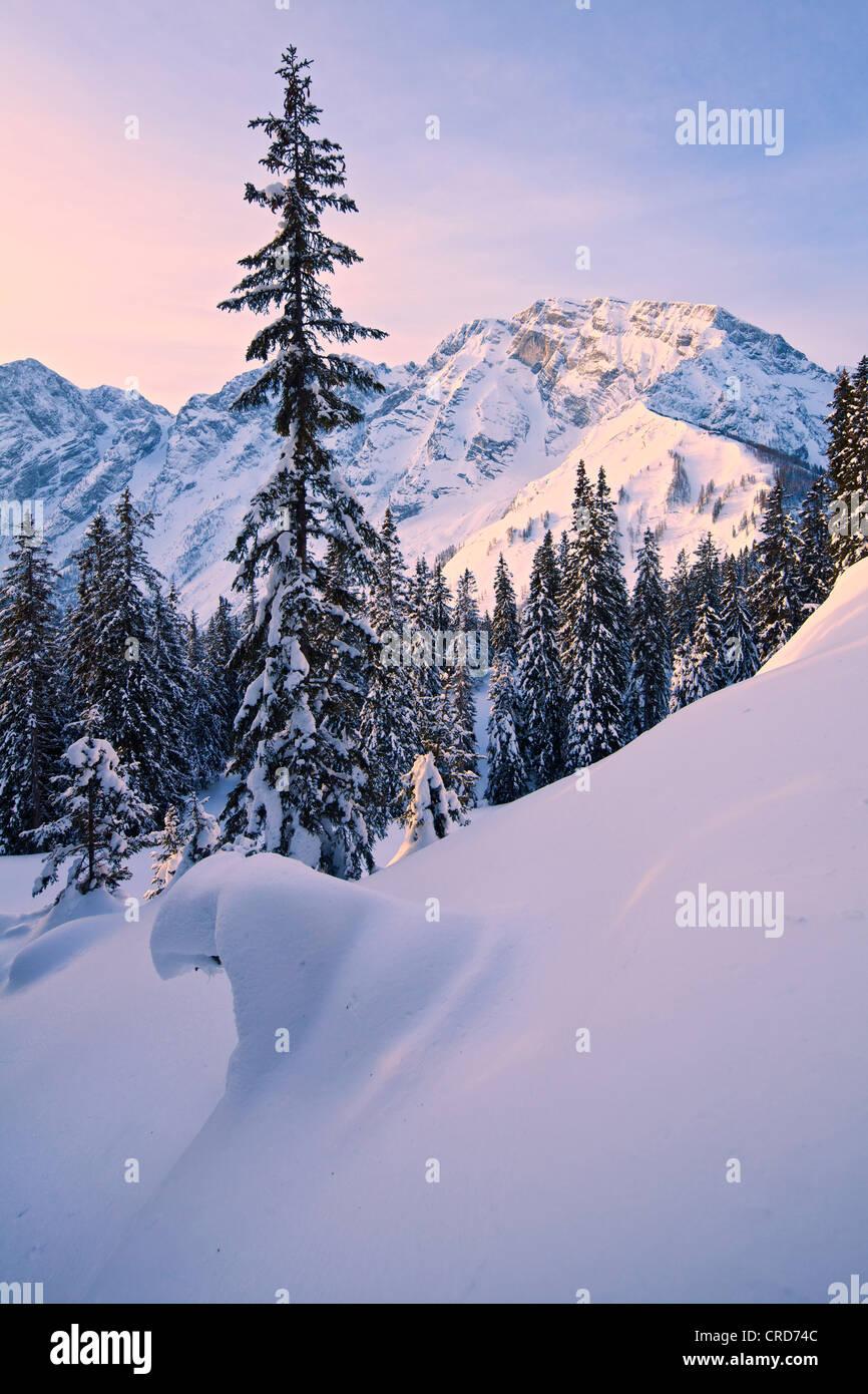 Sunset at Hoher Goell, Berchtesgaden Alps, Berchtesgadener Land, Bavaria, Germany, Europe Stock Photo