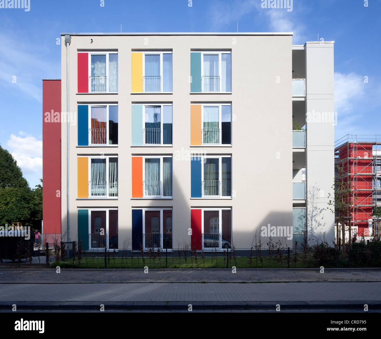 Climate-protection housing estate Gelsenkirchen, apartment buildings, residential buildings, Gelsenkirchen, Ruhr - Stock Image