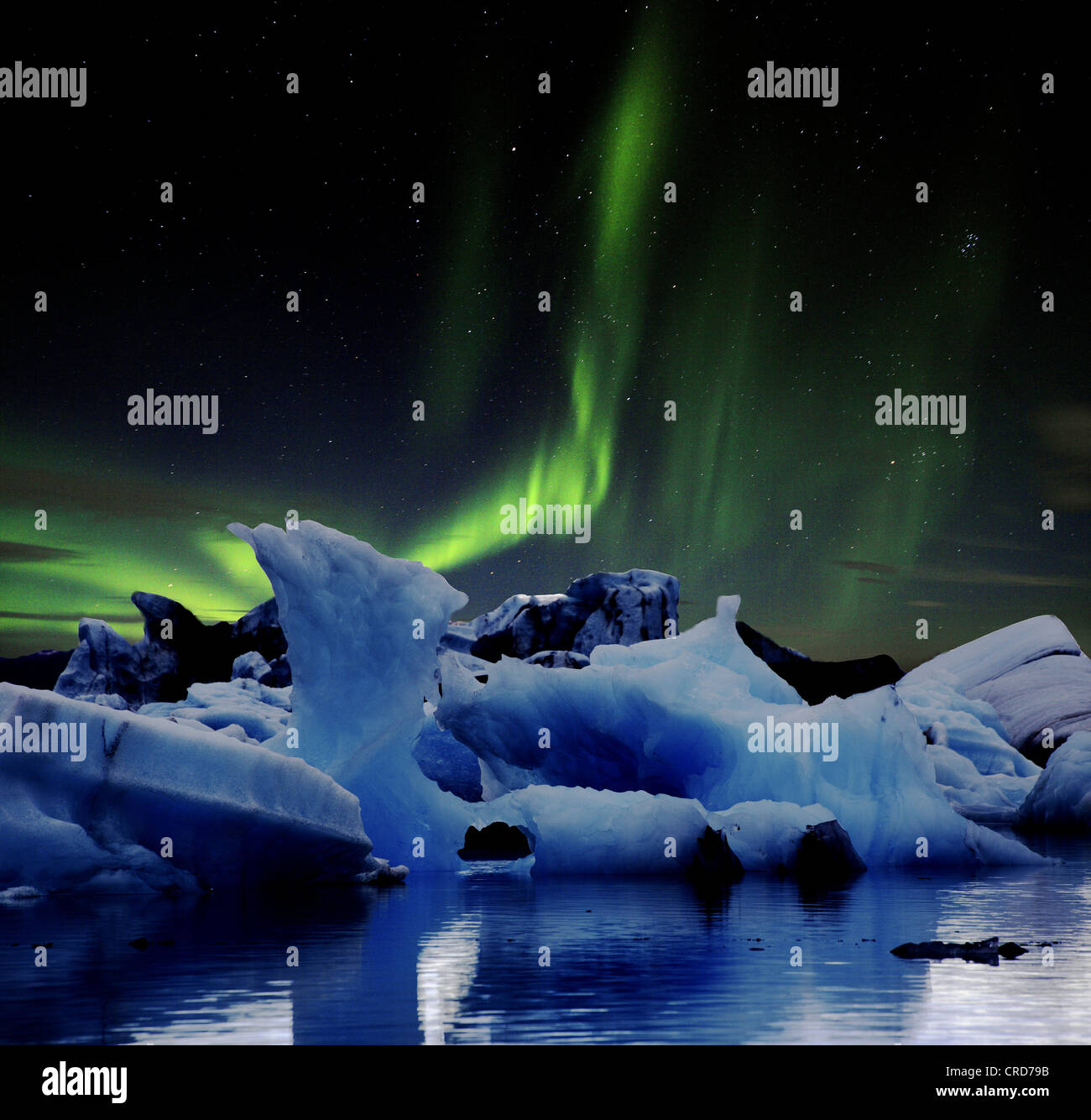 Glacial lake Joekulsarlon and Vatnajoekull, Iceland, Europe - Stock Image