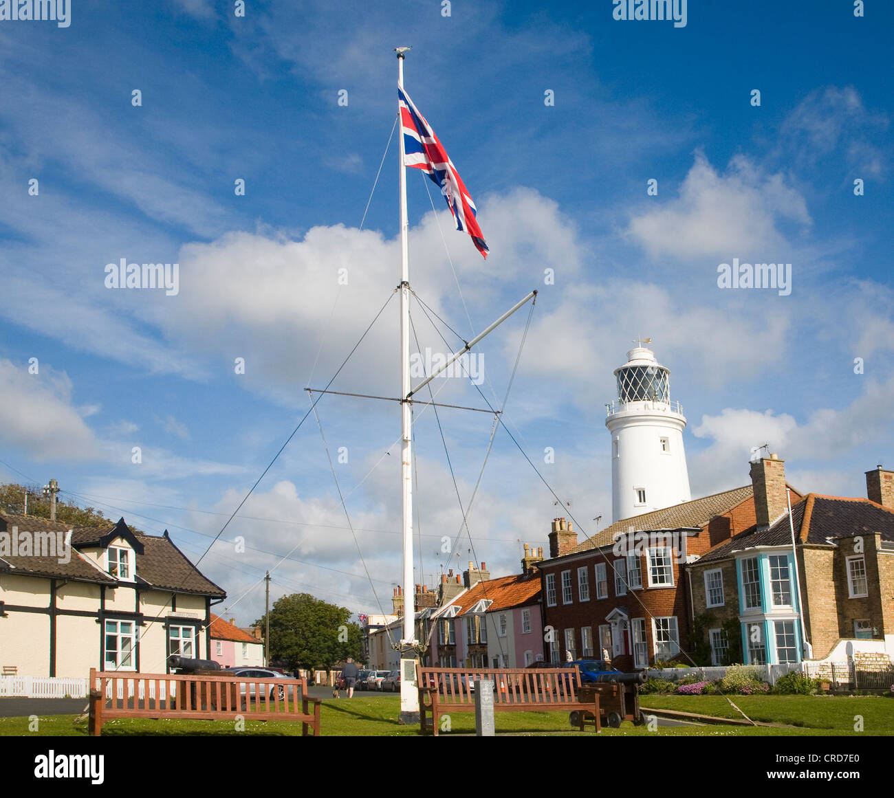 Lighthouse flagpole buildings Southwold Suffolk England - Stock Image