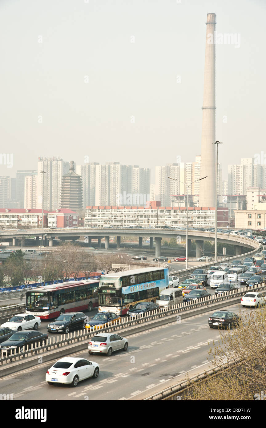 Morning rush hour traffic congestion and dirt air in Beijing - Stock Image