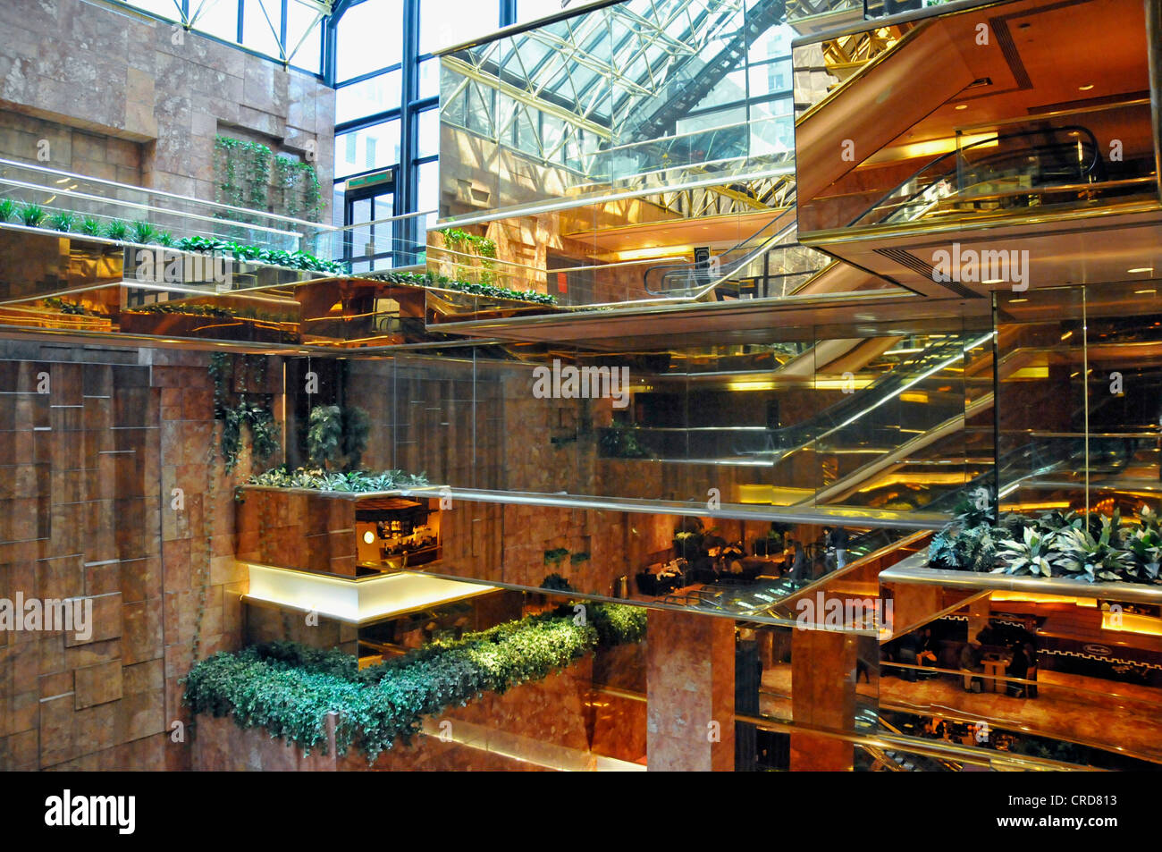 atrium of the Trump Tower at the 5th Avenue, USA, New York City, Manhattan - Stock Image