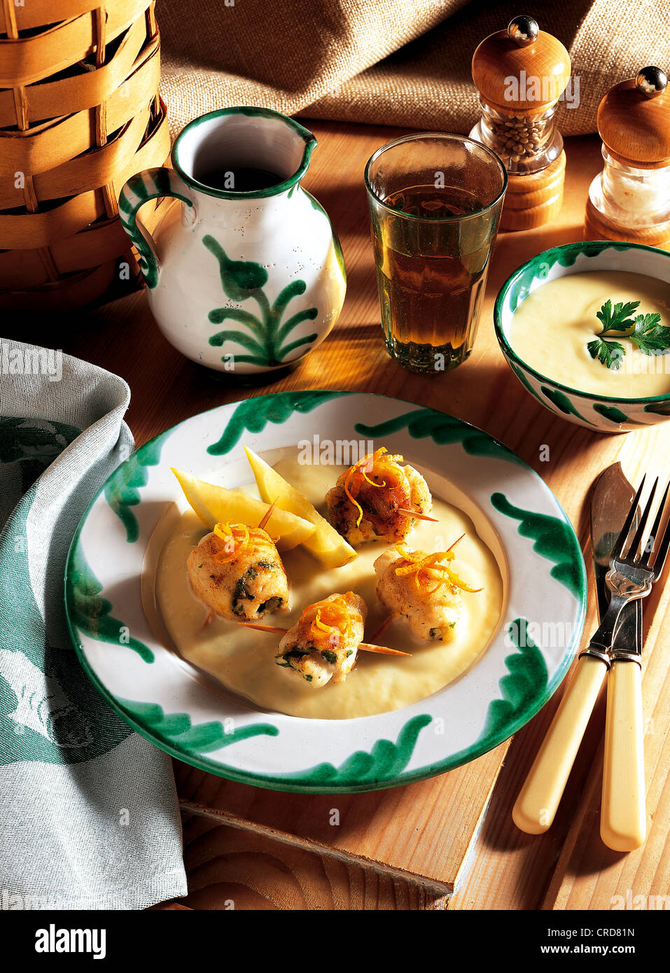 Andalusian fish rolls with sherry, sole fillets with parsley and orange peel, soaked in olive oil, Spain - Stock Image