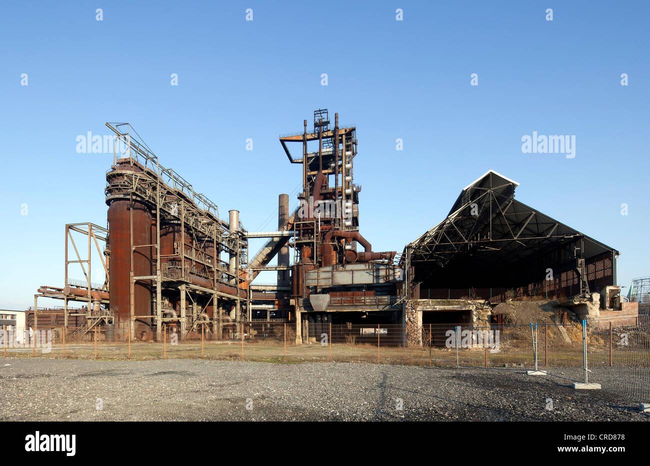 Former Phoenix-West Steelworks, blast furnace, Zukunftsstandort urban redevelopment site, Dortmund, Hoerde, Ruhr - Stock Image