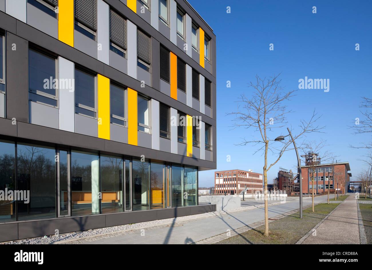 Office building, former Phoenix-West Steelworks, Zukunftsstandort urban redevelopment site, Dortmund, Hoerde, Ruhr - Stock Image