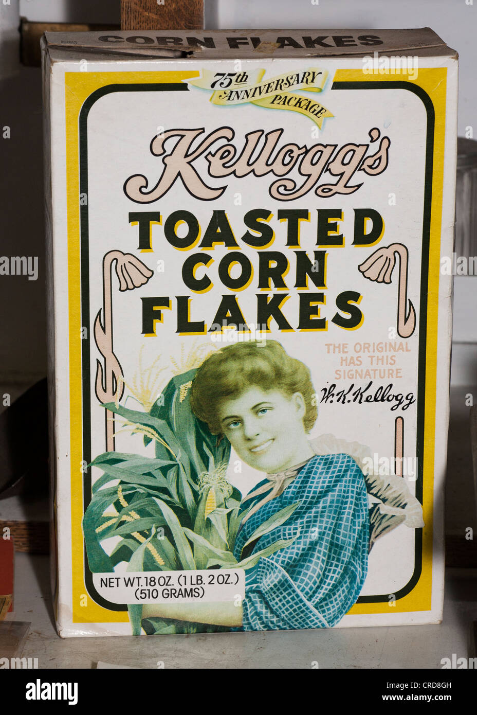1981 box of Kellog's Corn Flakes. A faded box from the 75th anniversary of the cereal. - Stock Image