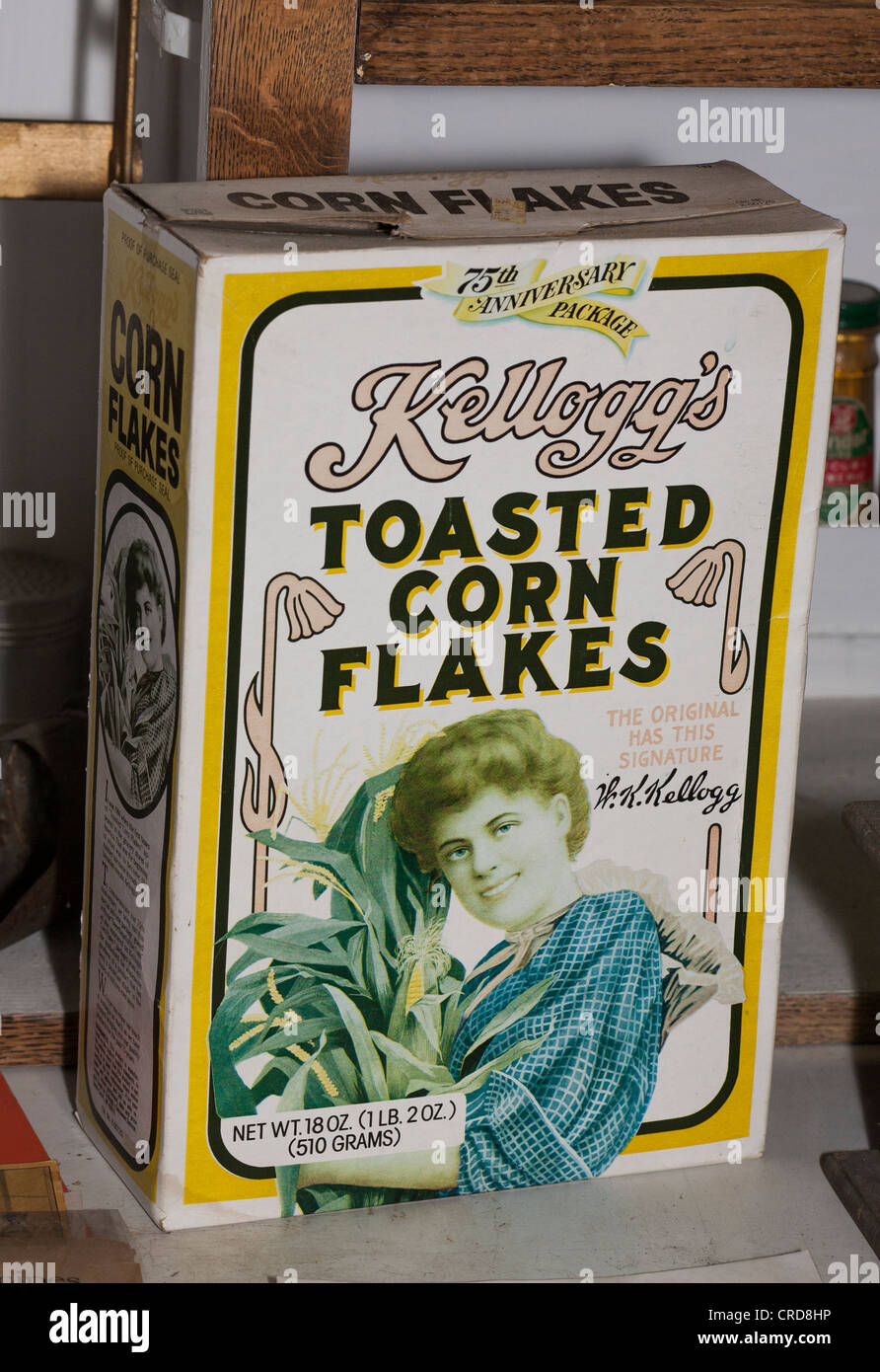 1981 box of Kellog's Corn Flakes. A faded box from the 75th anniversary of the cereal. Stock Photo