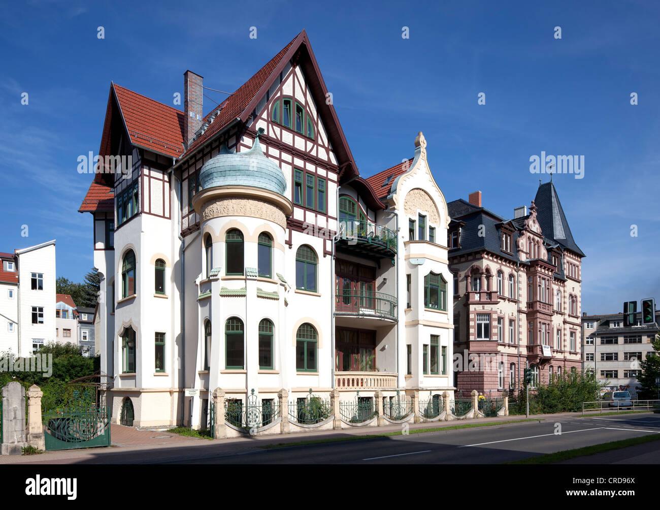 Townhouse, Art Nouveau, Eisenach, Thuringia, Germany, Europe, PublicGround - Stock Image