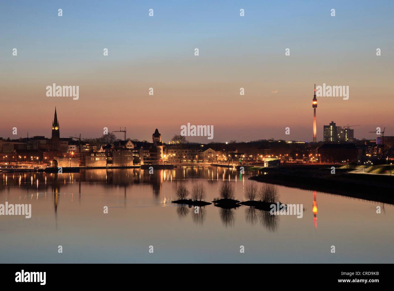 Lake Phoenix, Dortmund, North Rhine-Westphalia, Germany, Europe - Stock Image