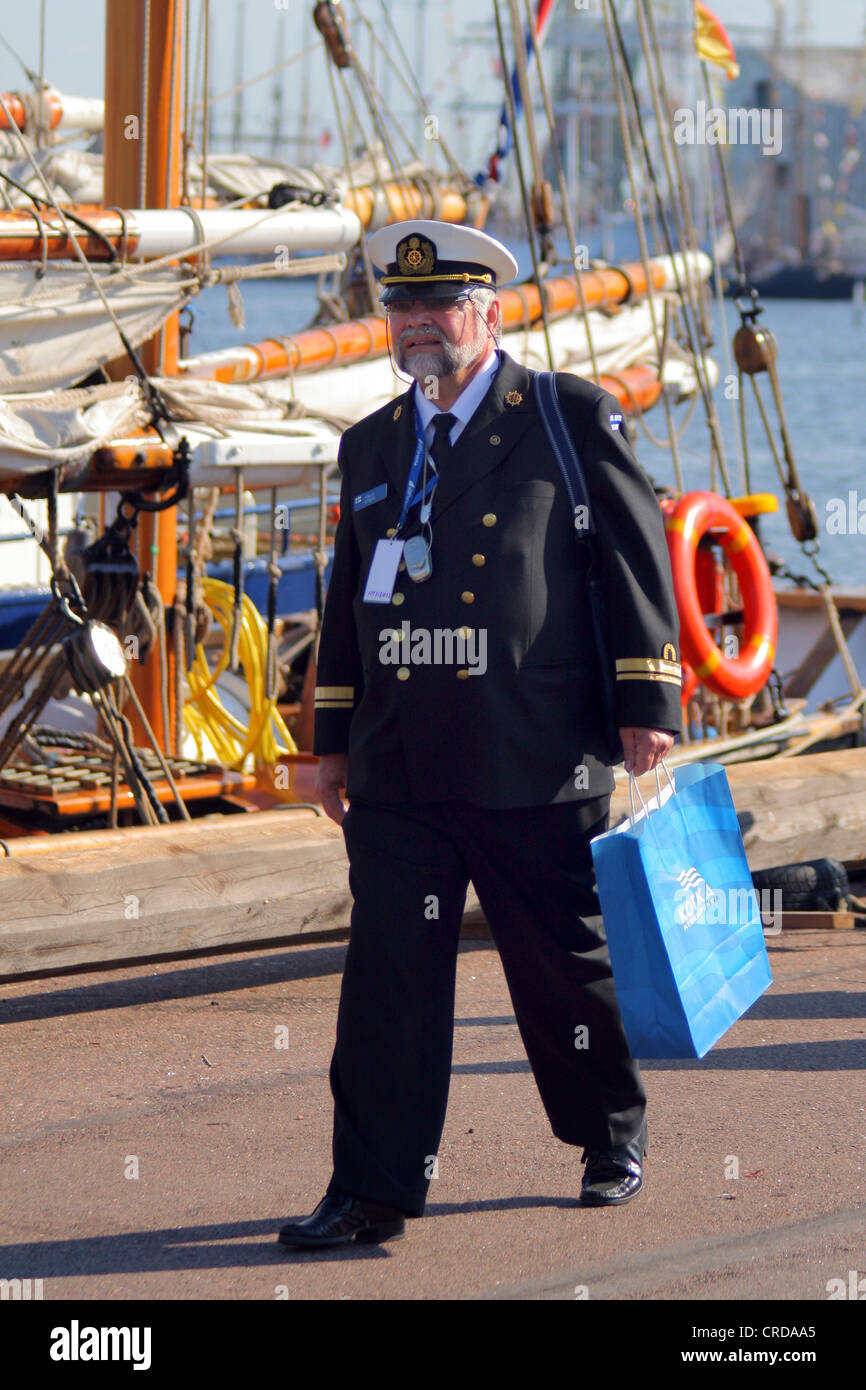 The Tall Ships' Races at Kotka. Officer at Kotka harbour, Finland - Stock Image