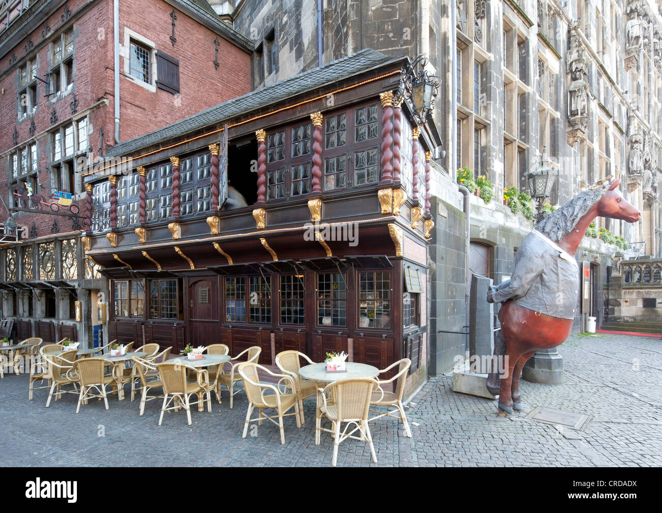 Postwagen, historic restaurant at City Hall, Aachen, North Rhine-Westphalia, Germany, Europe, PublicGround - Stock Image