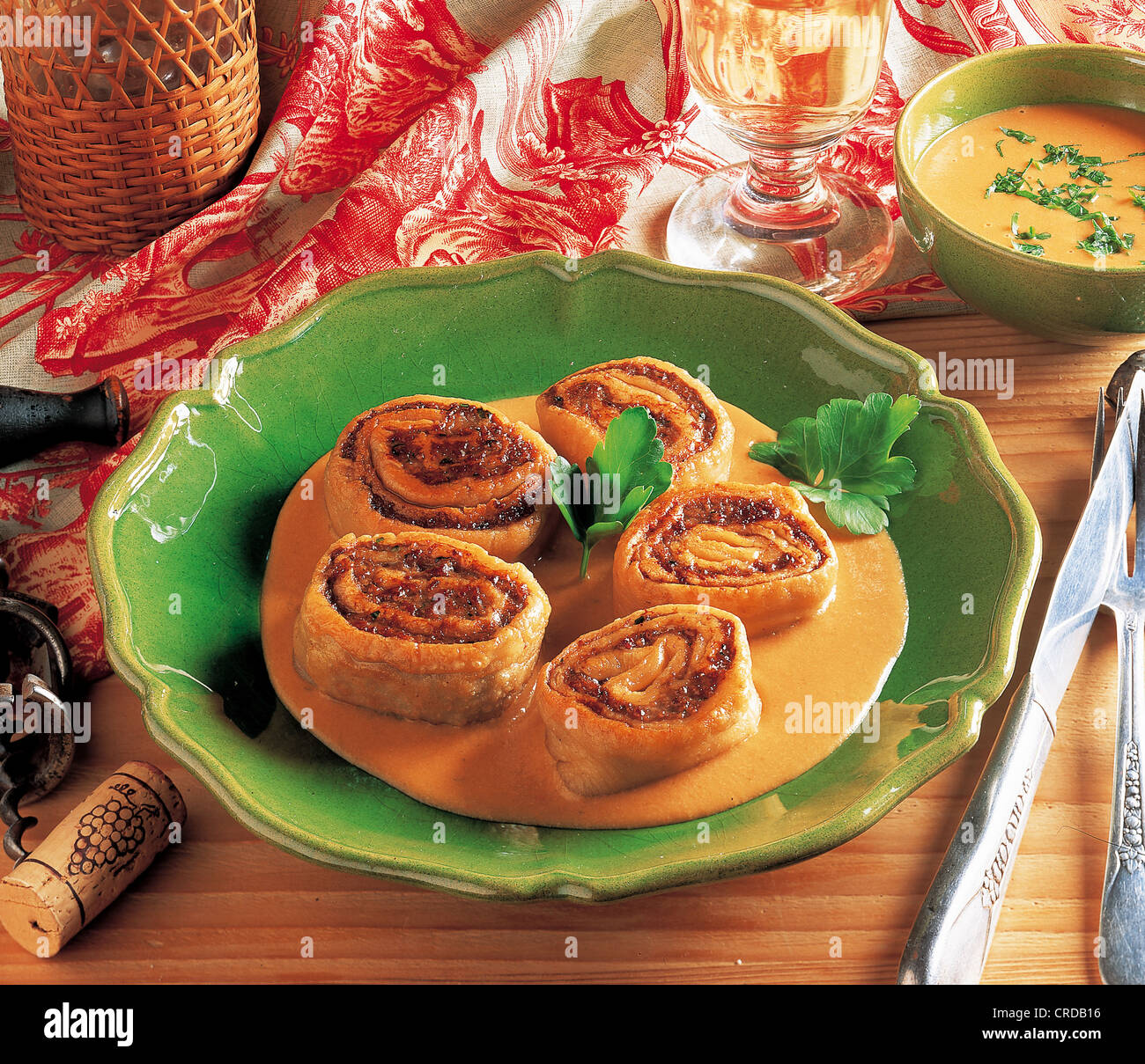 Alsatian meat rolls, France, recipe available for a fee - Stock Image