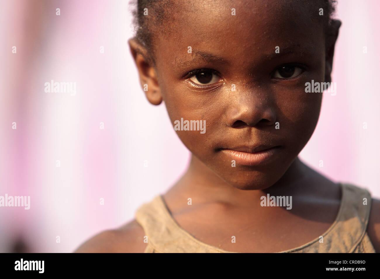 Portrait of a girl in the West Point slum in Monrovia, Montserrado county, Liberia on Monday April 2, 2012. - Stock Image