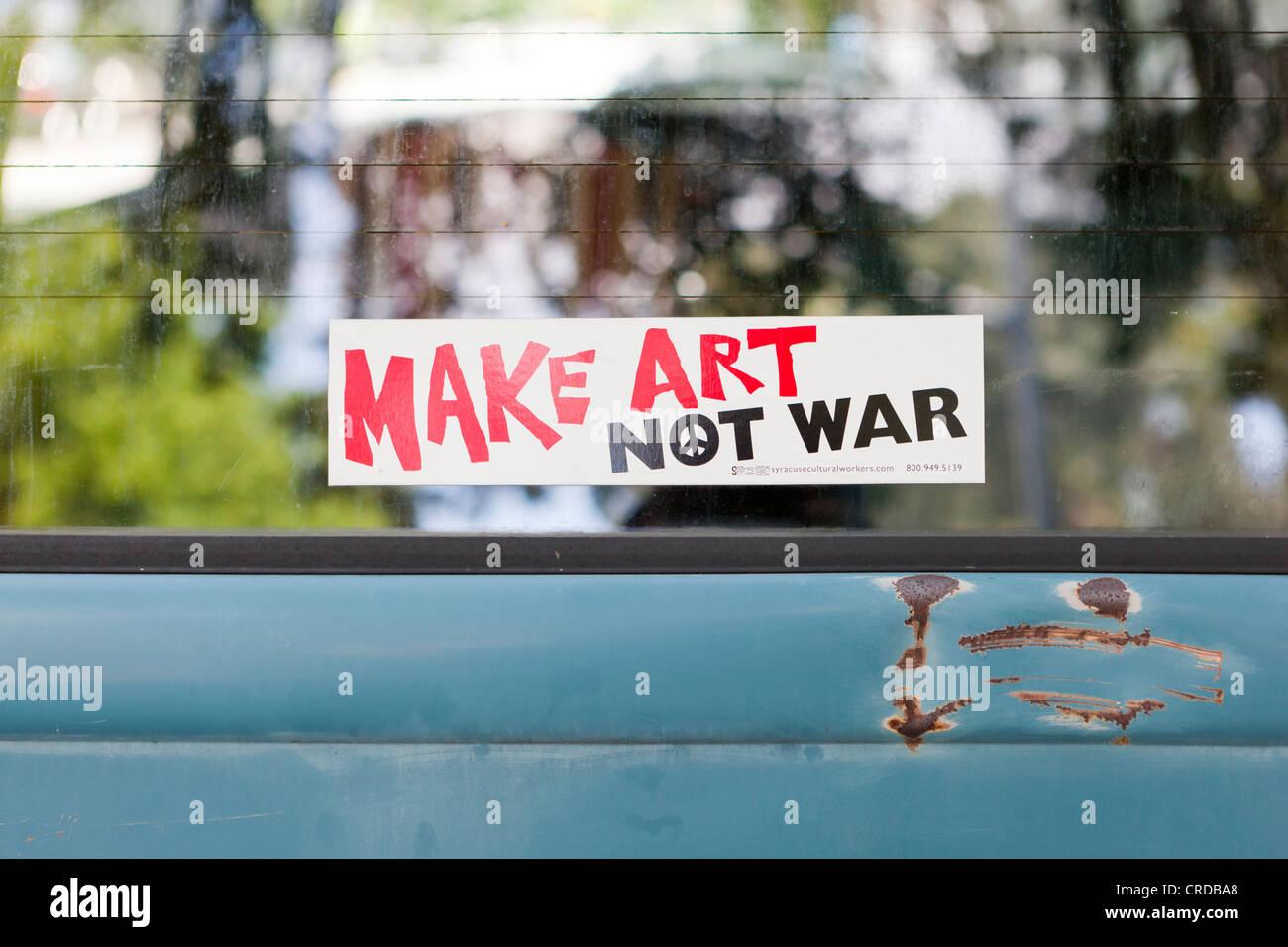 'Make Art Not War' bumper sticker - USA - Stock Image
