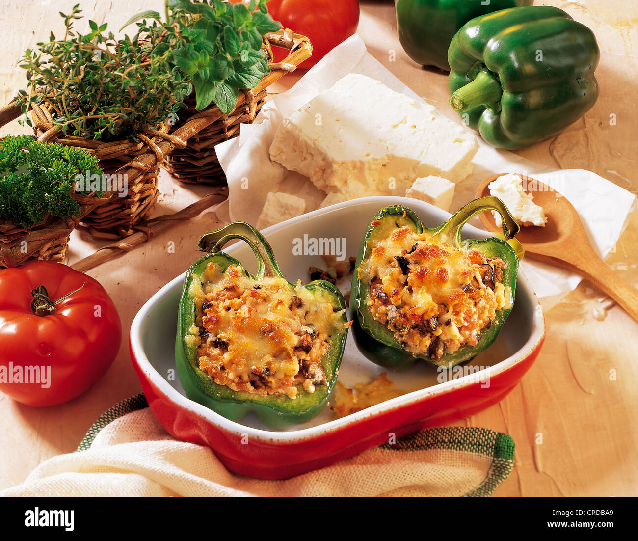 Peppers stuffed with feta cheese, Bosnia-Herzegovina, recipe available for a fee - Stock Image