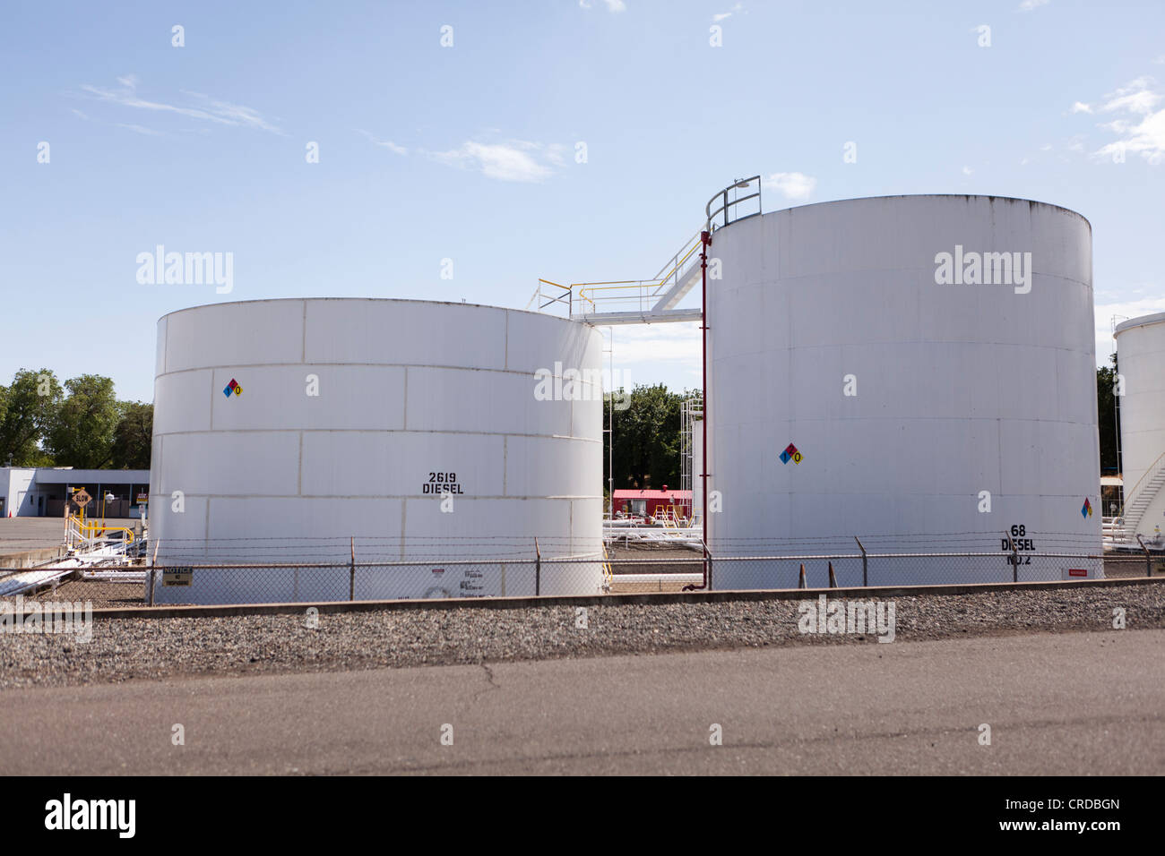 Industrial fuel storage tanks - Stock Image