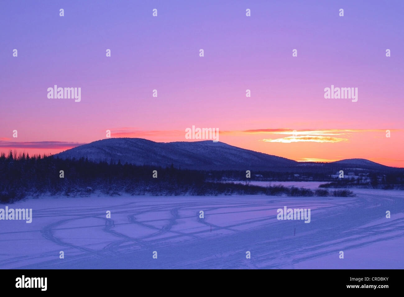 Eventide at lake Sirkka, Finland, Lapland - Stock Image