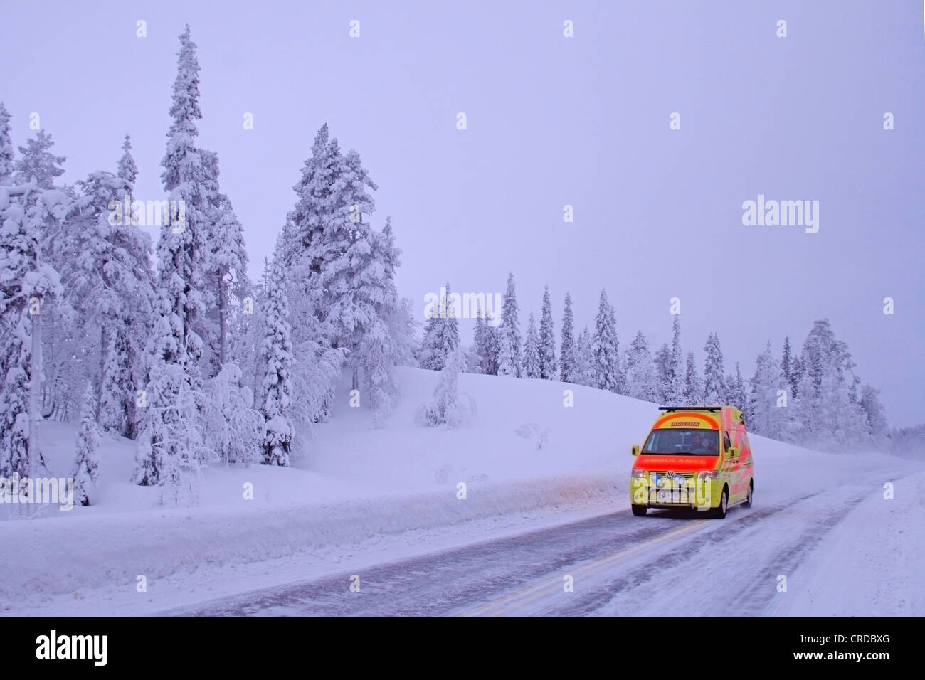Snowy pine and fir trees and Levi ambulance, Finland, Lapland - Stock Image