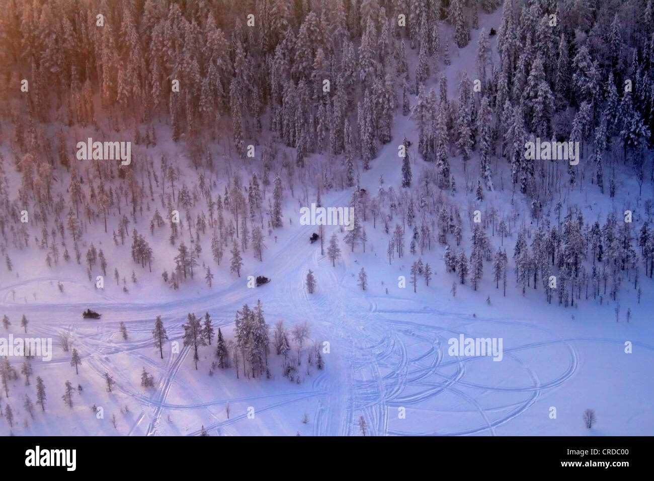 Snowmobile safari photographed from air, Finland, Lapland, Kittilae - Stock Image