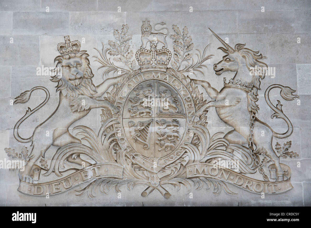 The Royal Coat of Arms stone carving. James Street, London - Stock Image