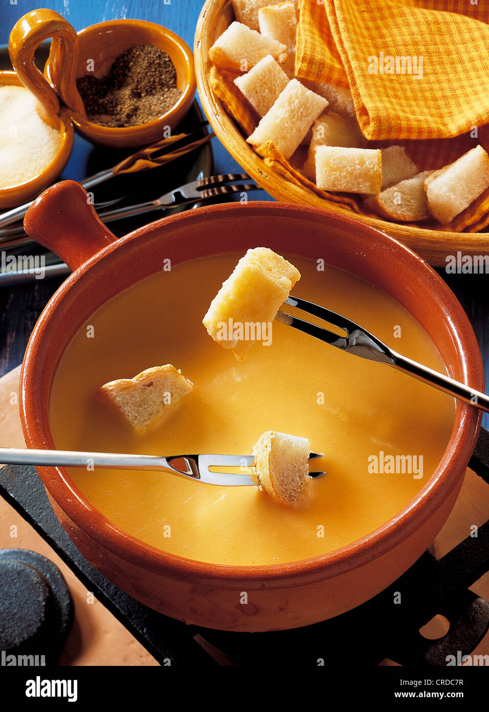 Fondue from Piedmont, Italy, recipe available for a fee - Stock Image