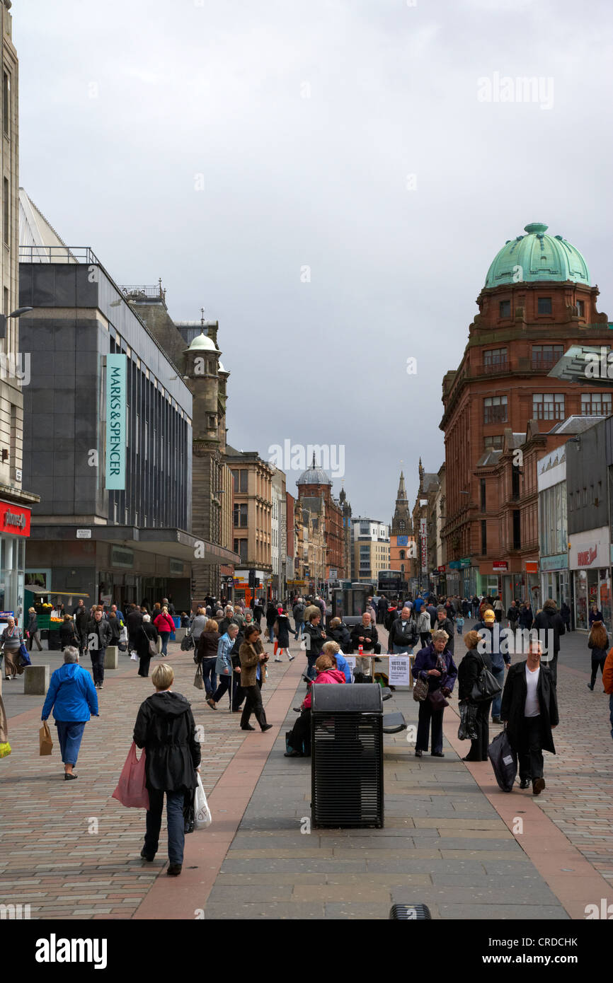 argyle street shopping area in central glasgow scotland uk - Stock Image