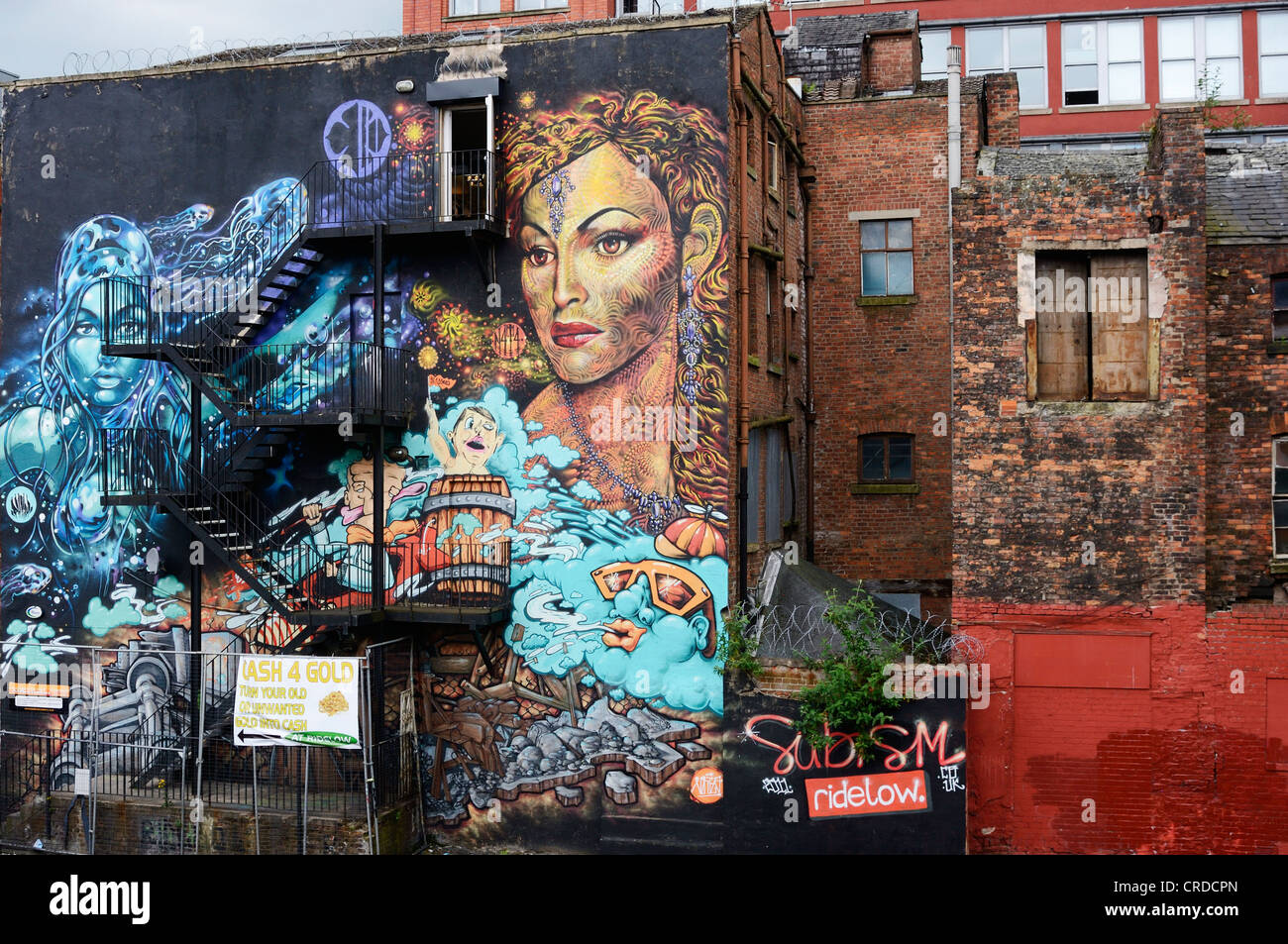 Street art on the side of a building in Manchester city centre. - Stock Image