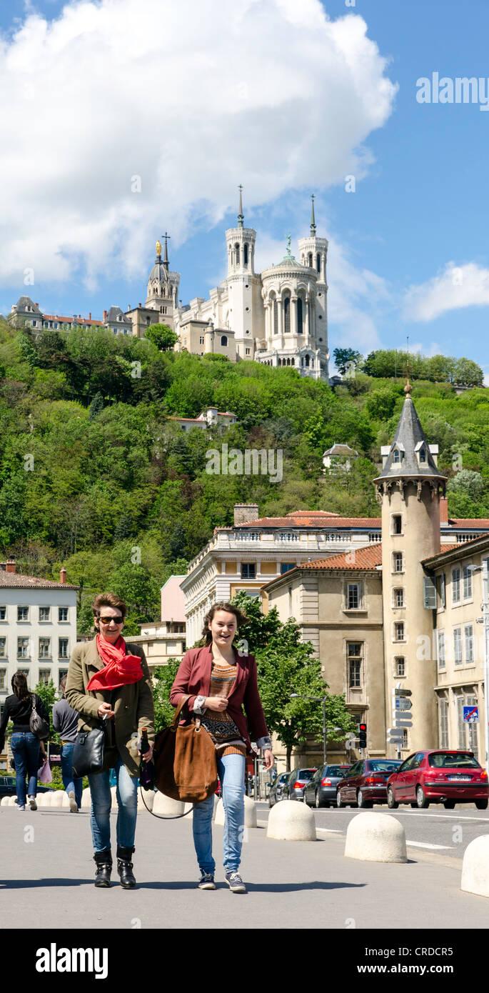 People walking in Lyon France Europe - Stock Image