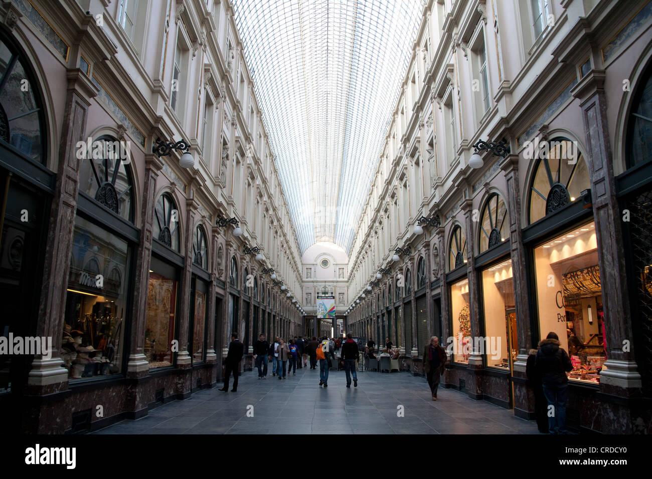 The Galeries Royales Saint-Hubert  or Koninklijke Sint- Hubertusgalerijen Brussels Belgium - Stock Image