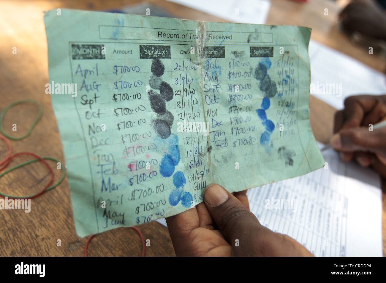 Project staff hold a beneficiary card during a social cash transfer programme distribution in the village of Julijuah, - Stock Image