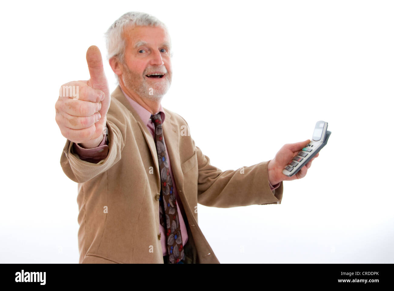older, successfully businesman with pocket calculator - Stock Image