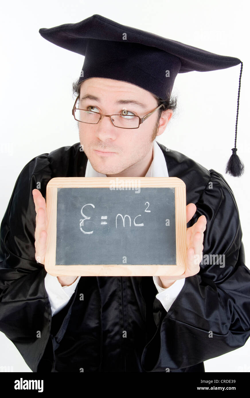graduate with black board, theory of relativity - Stock Image