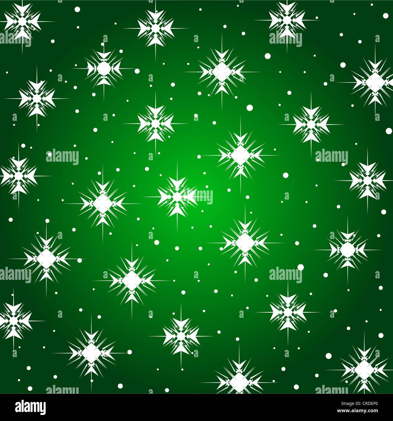Sparkling stars pattern on green Stock Photo
