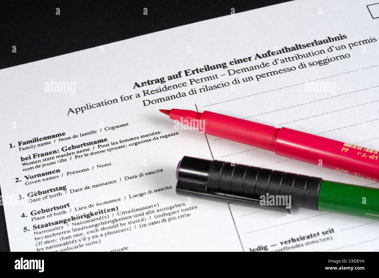 Application for a residence permit in German, English ...