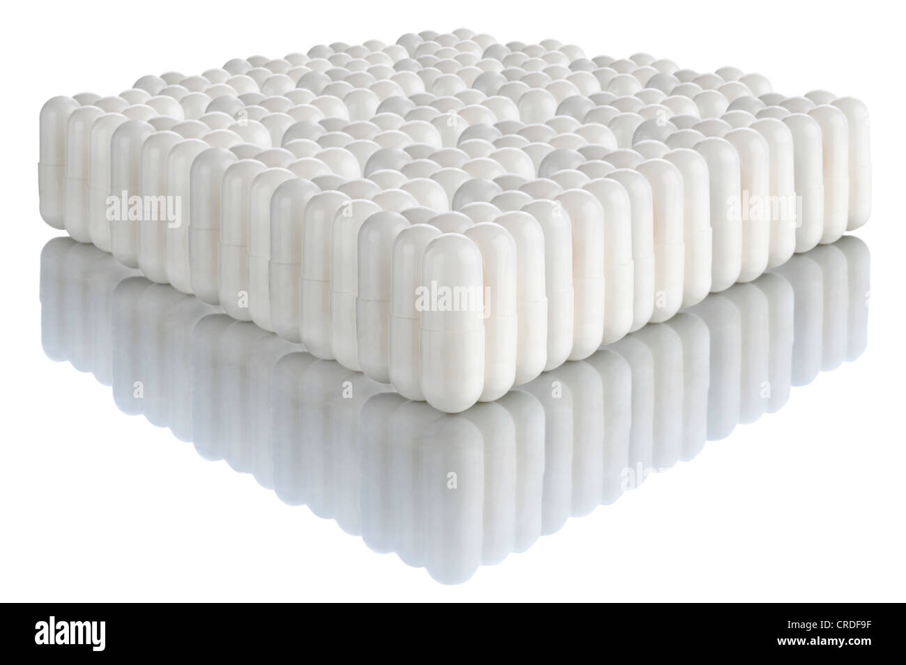 Multiple white capsules - Stock Image