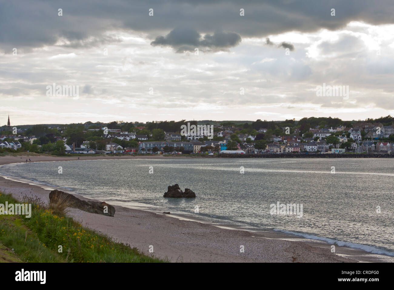 Ballycastle beach on an overcast evening on the north coast of Co Antrim Northern Ireland - Stock Image